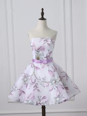 Excellent White A-line Scoop Sleeveless Printed Mini Length Lace Up Belt Prom Dresses