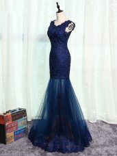Navy Blue Scoop Neckline Beading and Lace and Appliques Mother of Bride Dresses Sleeveless Zipper