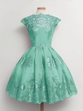 Hot Selling A-line Bridesmaids Dress Turquoise Scalloped Tulle Cap Sleeves Knee Length Lace Up