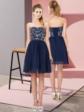 Chiffon Sweetheart Sleeveless Lace Up Beading Homecoming Dress in Navy Blue