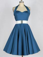 Glamorous Sleeveless Knee Length Belt Lace Up Quinceanera Court of Honor Dress with Teal