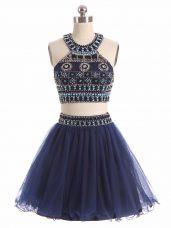 Glittering Scoop Sleeveless Zipper Dress for Prom Navy Blue Tulle