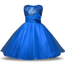 Fabulous Blue Sleeveless Bowknot and Belt and Hand Made Flower Knee Length Flower Girl Dresses for Less