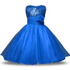 Fabulous Blue Sleeveless Bowknot and Belt and Hand Made Flower Knee Length Flower Girl Dresses for Less