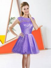 Lavender Sleeveless Beading and Lace Knee Length Bridesmaid Dresses