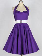 Exceptional Purple Zipper Dama Dress for Quinceanera Ruching Sleeveless Knee Length