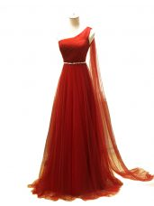 New Arrival Rust Red Sleeveless Tulle Brush Train Zipper Juniors Evening Dress for Prom and Sweet 16