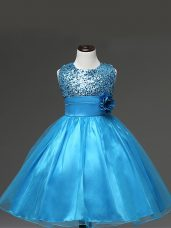 Latest Baby Blue Ball Gowns Scoop Sleeveless Tulle Knee Length Zipper Sequins and Hand Made Flower Little Girl Pageant Dress