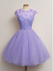 Knee Length Lavender Bridesmaid Gown Scoop Cap Sleeves Lace Up