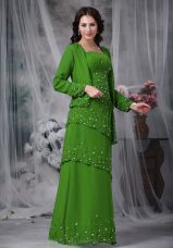 Fantastic Green Sleeveless Beading Floor Length Mother of Bride Dresses