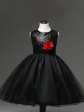 Attractive Scoop Sleeveless Tulle Little Girls Pageant Dress Sequins and Hand Made Flower Zipper