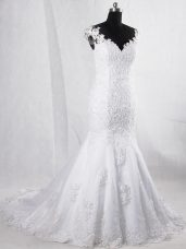 Captivating White Mermaid Lace Wedding Gown Clasp Handle Tulle Sleeveless