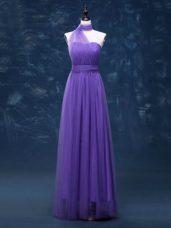 Fabulous Lavender Sleeveless Floor Length Ruching Lace Up Damas Dress