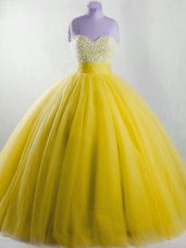 New Style Yellow Sweet 16 Quinceanera Dress Sweet 16 and Quinceanera with Beading Strapless Sleeveless Lace Up