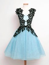 Aqua Blue A-line Straps Sleeveless Tulle Knee Length Lace Up Lace Wedding Guest Dresses