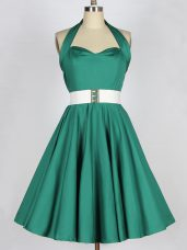 Popular Dark Green Lace Up Halter Top Belt Quinceanera Dama Dress Taffeta Sleeveless