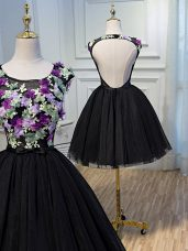 Edgy Tulle Scoop Sleeveless Backless Hand Made Flower Cocktail Dresses in Black