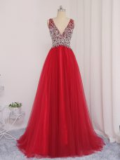 Fine Sleeveless Brush Train Backless Beading Prom Evening Gown