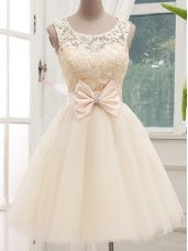 Custom Made A-line Bridesmaids Dress Champagne Scoop Tulle Sleeveless Knee Length Lace Up