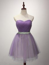 Elegant Tulle Sweetheart Sleeveless Lace Up Ruching Damas Dress in Lavender