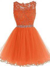 Superior Orange Zipper Womens Party Dresses Beading and Ruffles Sleeveless Mini Length