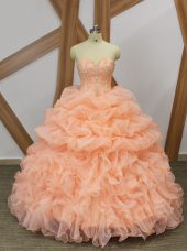Simple Peach Sweetheart Neckline Beading and Ruffles and Pick Ups Quinceanera Dress Sleeveless Lace Up