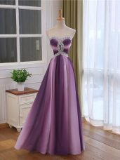 Sleeveless Beading and Ruching Lace Up Prom Dresses