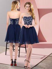 Admirable Navy Blue Sleeveless Mini Length Beading Lace Up