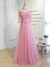 Top Selling Pink Tulle Lace Up Mother of Bride Dresses 3 4 Length Sleeve Floor Length Beading and Lace and Appliques