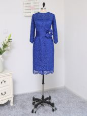 Stylish Royal Blue Mother of Groom Dress Prom and Party and Military Ball with Lace and Appliques and Belt Scoop Long Sleeves Zipper