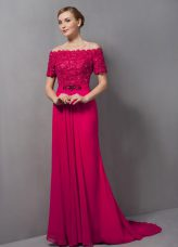 Stunning Hot Pink Chiffon Zipper Mother Dresses Short Sleeves Sweep Train Lace