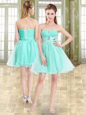 Apple Green A-line Organza and Chiffon Sweetheart Sleeveless Beading Mini Length Lace Up Prom Dresses