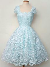 Fashion Knee Length Lace Up Bridesmaids Dress Aqua Blue for Prom and Party and Wedding Party with Lace