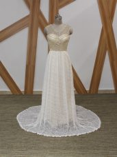 White V-neck Neckline Beading and Lace Wedding Gown Sleeveless Side Zipper