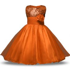 Rust Red Scoop Zipper Belt and Hand Made Flower Flower Girl Dresses Sleeveless