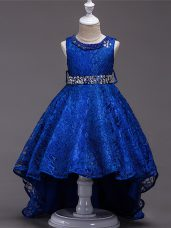 Customized Royal Blue Lace Lace Up Little Girls Pageant Gowns Sleeveless High Low Beading
