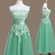 Smart Strapless Sleeveless Tulle Wedding Party Dress Appliques Lace Up