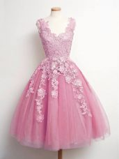 Enchanting Knee Length Lace Up Wedding Guest Dresses Pink for Prom and Party and Wedding Party with Lace