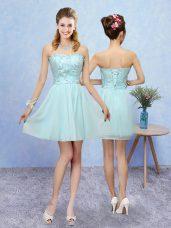 Pretty Mini Length Aqua Blue Wedding Party Dress Sweetheart Sleeveless Lace Up