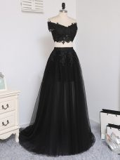 Fashion Black Prom Dress Prom and Party and Beach with Beading Off The Shoulder Sleeveless Zipper