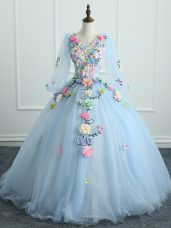 Designer Ball Gowns Quinceanera Dress Light Blue V-neck Tulle Long Sleeves Floor Length Lace Up