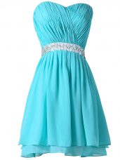 Glittering Aqua Blue Sleeveless Chiffon Lace Up Homecoming Dresses for Prom and Party and Sweet 16