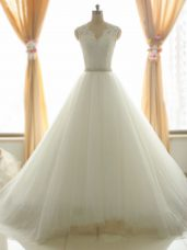 Tulle V-neck Sleeveless Brush Train Zipper Beading and Appliques Wedding Gowns in White