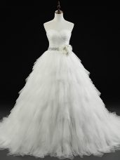 Custom Design Lace Up Wedding Gowns White for Wedding Party with Beading and Ruffles and Hand Made Flower Brush Train