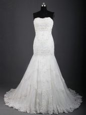 Lace Up Bridal Gown White for Wedding Party with Lace Brush Train