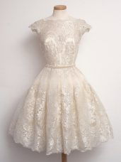 Captivating Champagne A-line Lace Quinceanera Dama Dress Lace Up Lace Cap Sleeves Knee Length