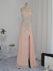 Dazzling V-neck Sleeveless Prom Dresses Floor Length Beading Peach Chiffon