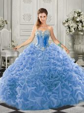 Graceful Light Blue Lace Up 15th Birthday Dress Beading and Ruffles Sleeveless Court Train