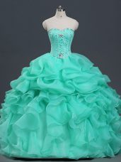 Popular Floor Length Ball Gowns Sleeveless Apple Green 15th Birthday Dress Lace Up