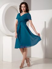 V-neck Short Sleeves Chiffon Mother of Bride Dresses Ruching Zipper